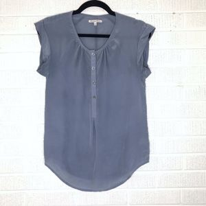 Madewell Broadway & Broome Silk Blouse Top Blue XS